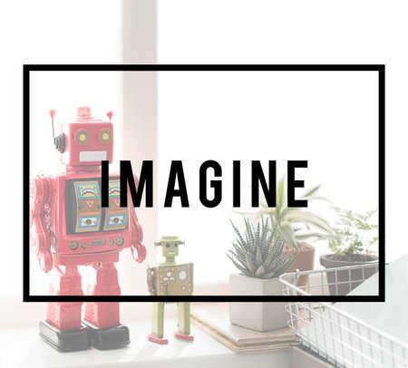 imagine a science: Imagine Expect Robotic Dream Big Concept Stock Photo