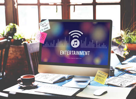 screenplay: Entertainment Boardcasting Media Online Music Concept Stock Photo