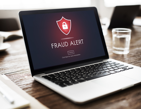 Fraud Alert Caution Defend Guard Notify Protect Concept Stock Photo