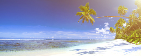 corall: Tropical beach destination panorama. Stock Photo