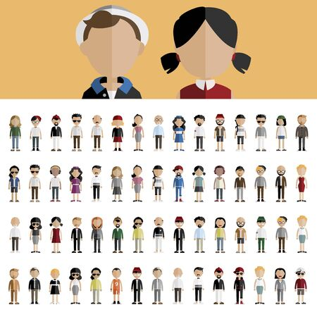 asian ethnicity: Diversity Community People Flat Design Icons Concept