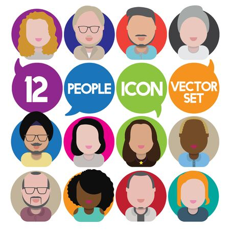 interracial: Diversity Interracial Community People Flat Design Icons Concept Illustration