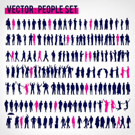 siluetas mujeres: Vector La gente de negocios Corporativo Concepto de empresa Vectores