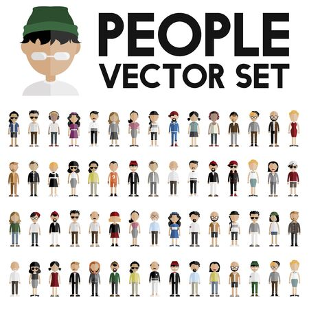 character of people: Diversity Community People Flat Design Icons Concept