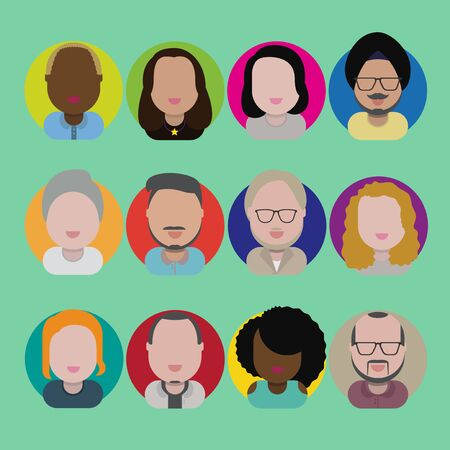 bob: Diversity Interracial Community People Flat Design Icons Concept Illustration