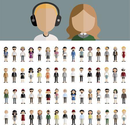 多様性のコミュニティの人々 フラット アイコンのデザイン コンセプト