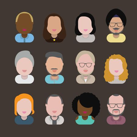 asian ethnicity: Diversity Interracial Community People Flat Design Icons Concept Illustration