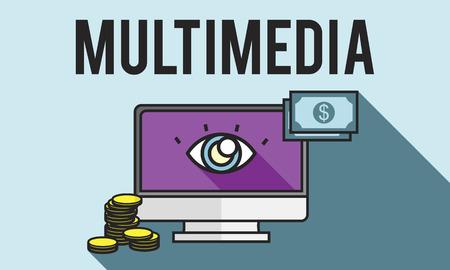computer animation: Advertisement Digital Marketing E-commerce Multimedia Concept Stock Photo