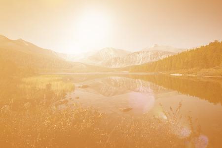 Beautiful lake and mountain scenery 写真素材