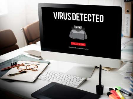 antivirus: Scam Virus Spyware Malware Antivirus Concept Stock Photo