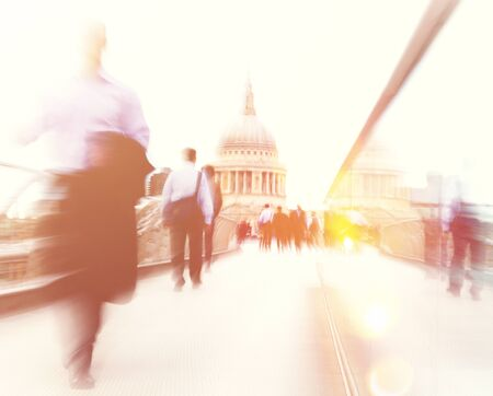 stressing: People rushing in London. Stock Photo