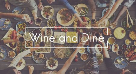 dine: Wine and Dine Dinner Celebration Cheers Toast Concept