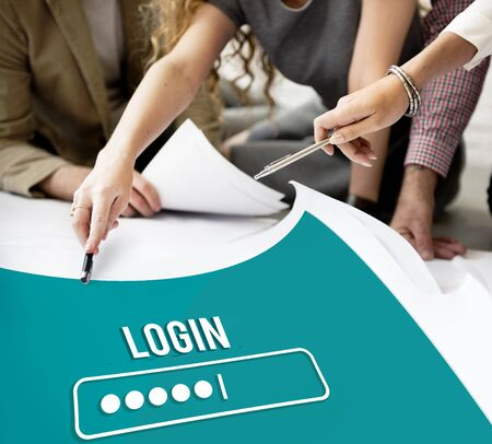 log: Log In Interface Password Security Concept Stock Photo