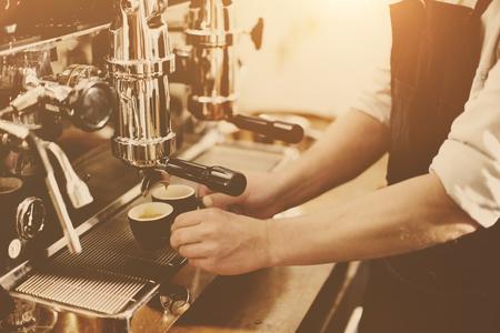 with coffee maker: Barista Coffee Maker Machine Grinder Portafilter Concept