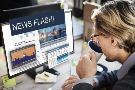 Update Trends Report News Flash Concept Banco de Imagens