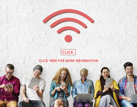 mobile internet: Wireless Wifi Technology Online Connect Concept Stock Photo
