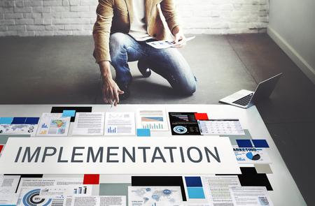 Implementatie bereiken Effect installeren Voer Concept Stockfoto