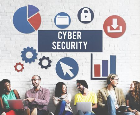 security technology: Cyber Security Protection Lock Privacy Concept