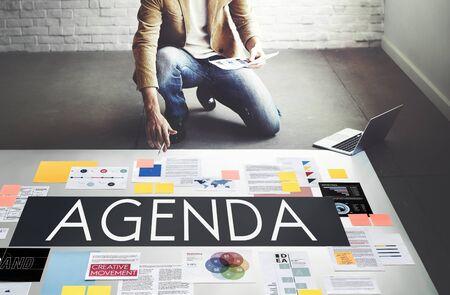 adjournment: Document Marketing Strategy Business Concept Stock Photo
