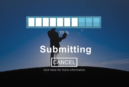 submitting: Submitting Send Transfering Hand on Data Technology Concept