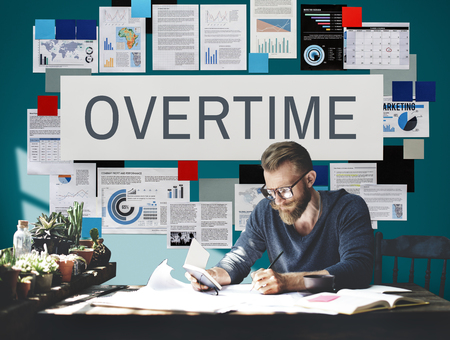 overtime: Overtime Stress Working Hours Job Late Career Concept