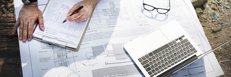 Bouwvakker Planning Constractor Developer Concept Stockfoto