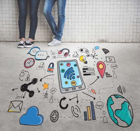 urban culture: Social Media Communication Connection Concept