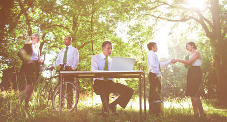 mixed age: Environmental friendly themed picture of business people working.