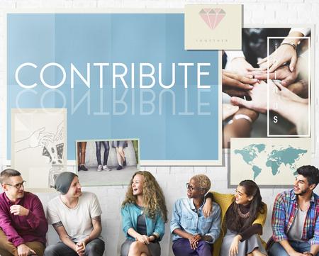 contribute: Team Teamwork Help Share Contribute Concept