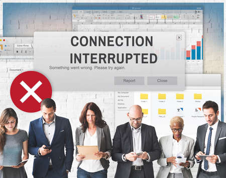 interrupted: Attention Alert Connection Interrupted Warning Concept