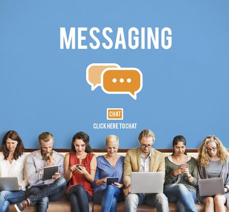chat online: Messaging Texting Connection Networking Connection Concept