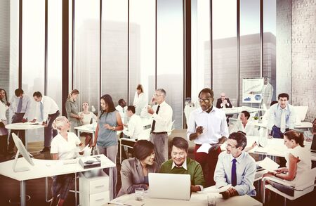 people working: Multiethnic Group of People Working in the Office