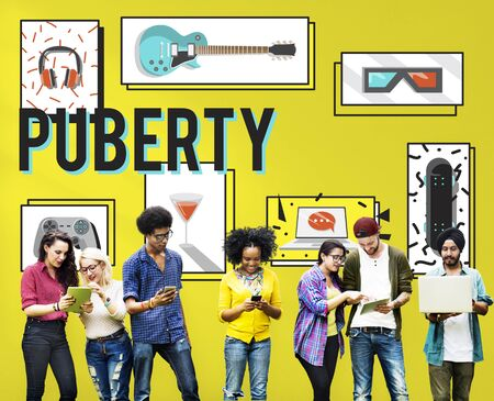 puberty: Puberty Adolescence Age Change Growth Life Concept