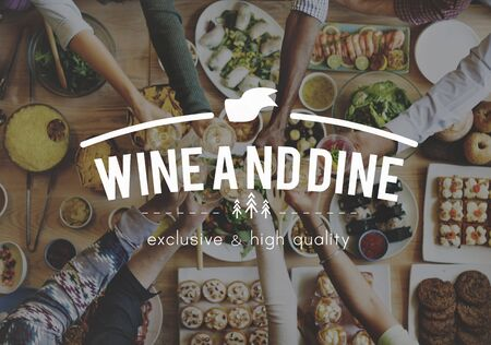wine and dine: Wine And Dine Meal Food Concept Stock Photo