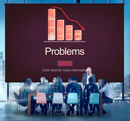 drawback: Problems Difficulty Failure Mistake Negative Concept Stock Photo