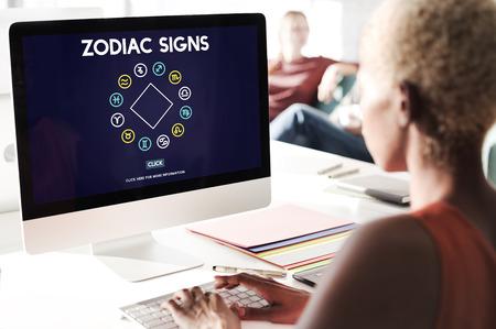 prediction: Zodiac Signs Prediction Horoscope Astrological Concept Stock Photo