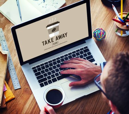 take away: Coffee Take Away Order Online Delivery Menu Concept Stock Photo