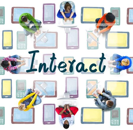 Interact Socialize Communication Connection Togetherness Concept Stock Photo