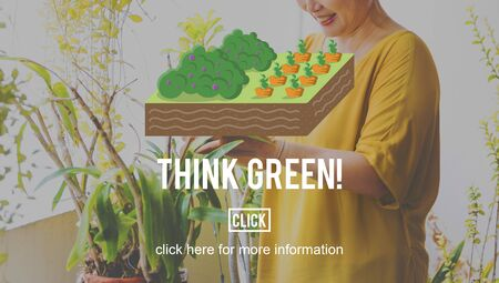 planting: Think Green Farming Planting Gardening Concept