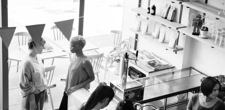 bar counter: Coffee Shop Bar Counter Cafe Restaurant Relaxation Concept Stock Photo