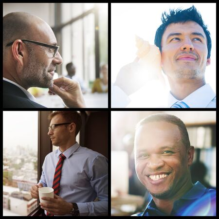 white collar: Businessmen Faces Diversity White Collar Worker Concept