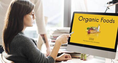 corporate women: Organic Foods Ecological Nutrition Tasteful Nature Concept