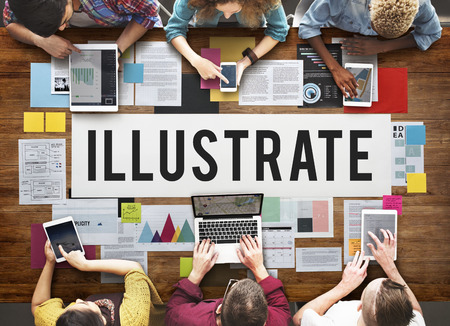 Illustrate concept with people on digital devices