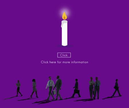rush hour: Candle Light Flame Faith Icon Concept Stock Photo
