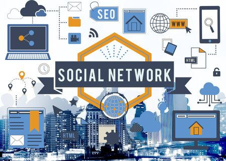 social networking: Social Network Media Internet Connection Concept