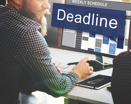 networking people: Deadline Appointment Final Time The End Countdown Urgency Concept Stock Photo