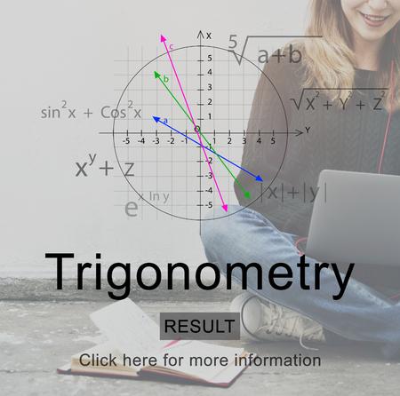 Trigonometry concept with background of a woman on a laptop Foto de archivo