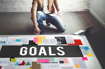 goal oriented: Goals Aim Aspiration Dreams Inspiration Vision Concept Stock Photo