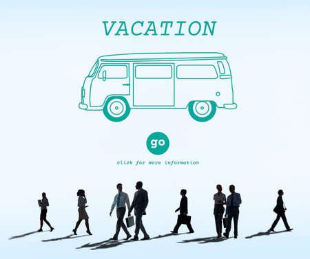 rush hour: Vacation Traveling Adventure Journey Destination Van Concept Stock Photo