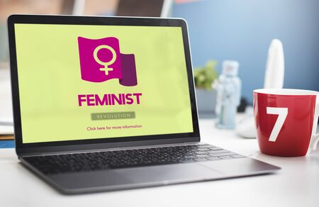 feminist: Woman Power Feminist Equal Rights Concept Stock Photo